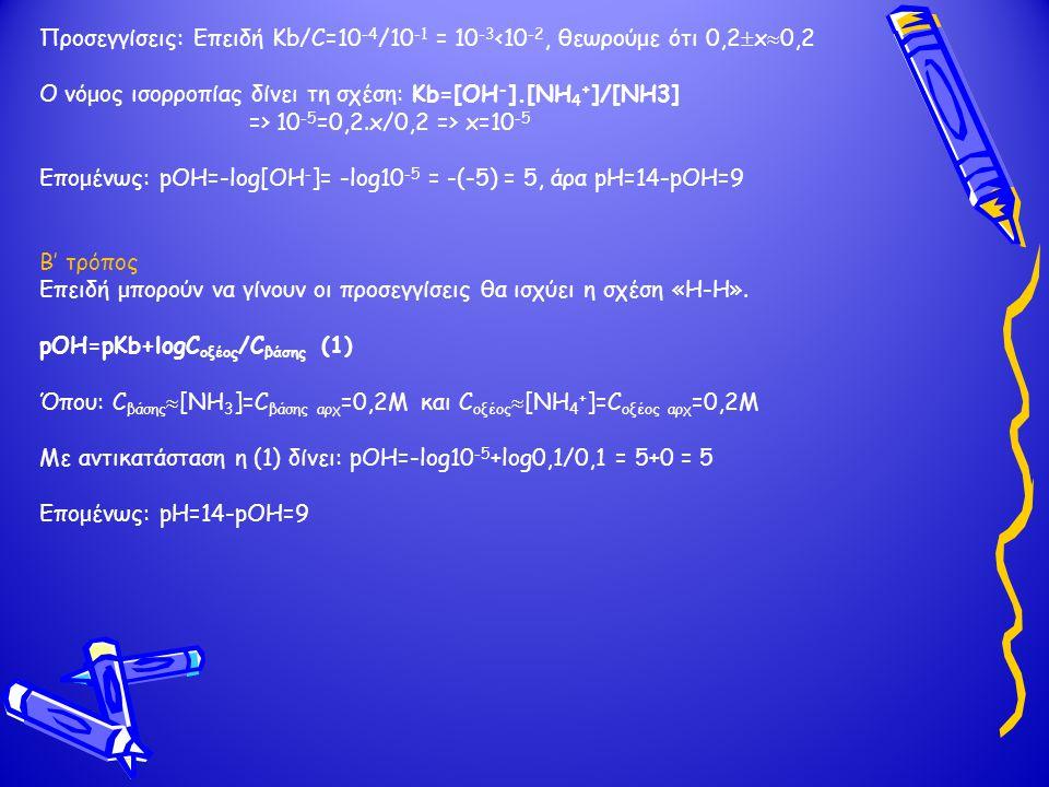 Προσεγγίσεις: Επειδή Kb/C=10-4/10-1 = 10-3<10-2, θεωρούμε ότι 0,2x0,2. O νόμος ισορροπίας δίνει τη σχέση: Kb=[OH-].[NH4+]/[NH3]